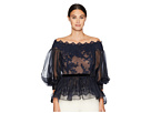 Marchesa Off the Shoulder Lace Fit and Flare Blouse w/ Statemented Bow Sleeves