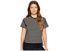 RED VALENTINO RED VALENTINO Striped T-Shirt with Point D'Esprit