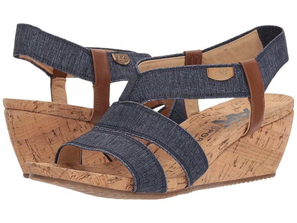 Anne Klein Cabrini (Blue/White/Cognac Fabric) Wedges