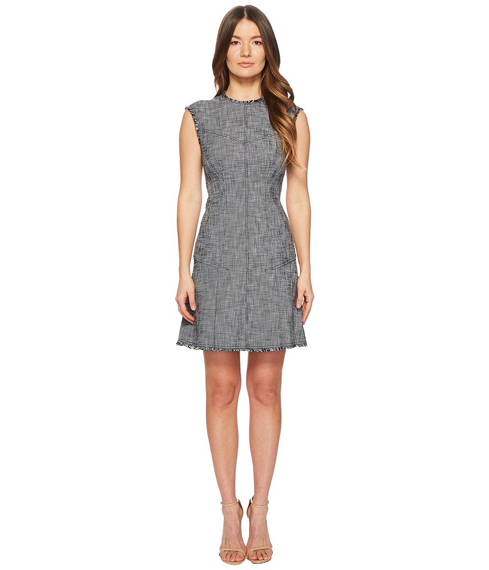 Rebecca Taylor - Sleeveless Slub Suiting Dress (Grey/Black Combo) Womens Dress