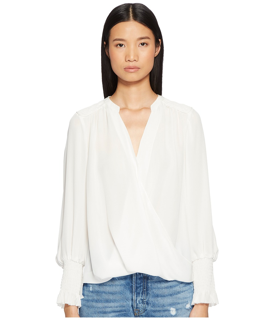 Rebecca Taylor - Silk Double Georgette Wrap Top (Snow) Womens Clothing