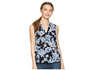 Vince Camuto Specialty Size Petite Sleeveless Exotic Woodblock Floral V-Neck Blouse