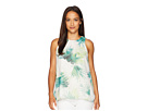 Vince Camuto Specialty Size Petite Sleeveless Sunlit Palm Blouse