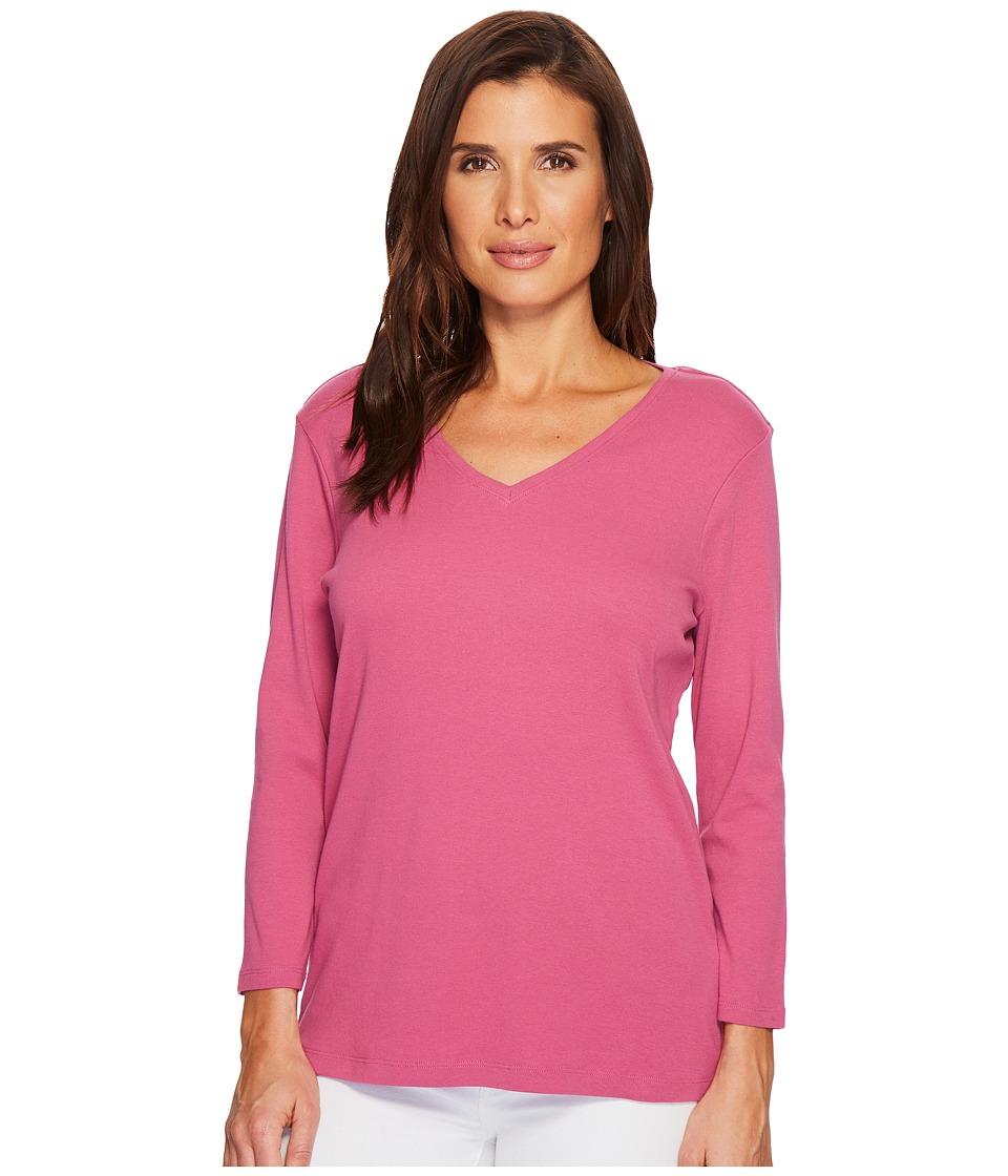 Pendleton - 3/4 Sleeve Rib Tee (Magenta Haze) Womens T Shirt