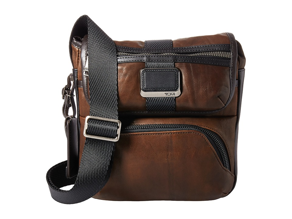 Tumi - Alpha Bravo Barton Leather Crossbody (Dark Brown Leather) Cross Body Handbags