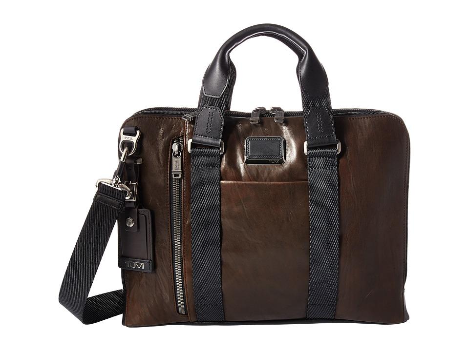 Tumi - Alpha Bravo Aviano Leather Slim Brief (Dark Brown Leather) Briefcase Bags