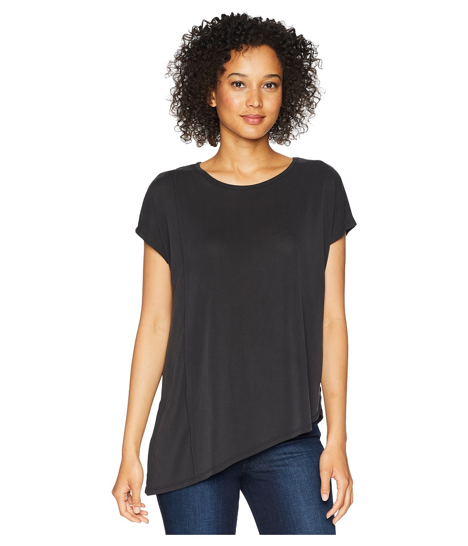 Mod-o-doc - Sandwashed Modal Jersey Raw Edge Asymmetrical Seamed Boxy Tee (Black) Womens T Shirt