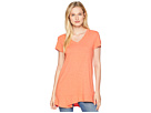 Mod-o-doc Slub Jersey Easy Short Sleeve V-Neck Tee with Peplum Hem