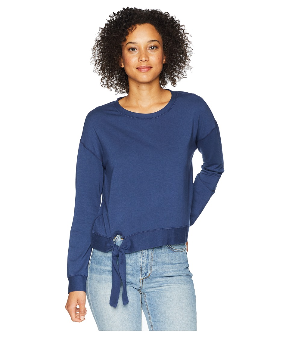 Mod-o-doc Cotton Modal Spandex French Terry Drop Shoulder Sweatshirt with Tie (New Navy) Women