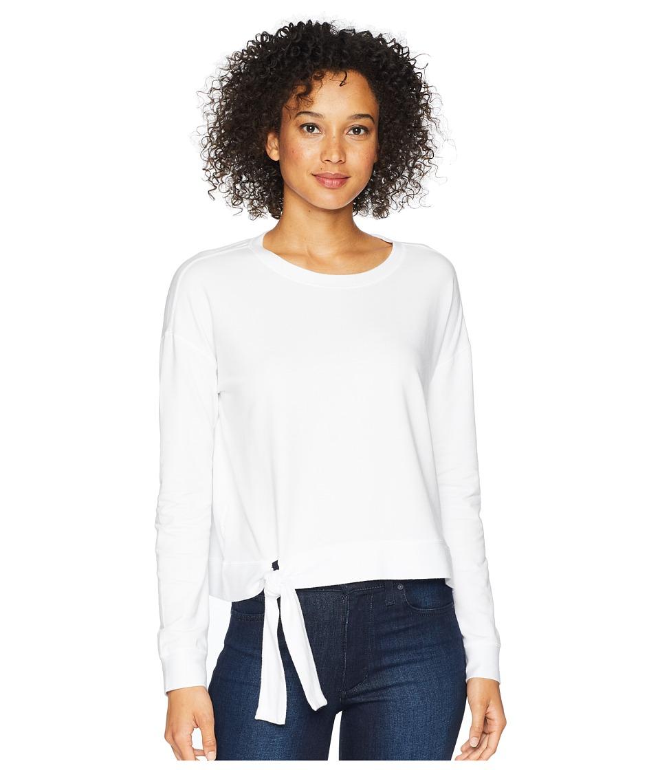 Mod-o-doc Cotton Modal Spandex French Terry Drop Shoulder Sweatshirt with Tie (White) Women