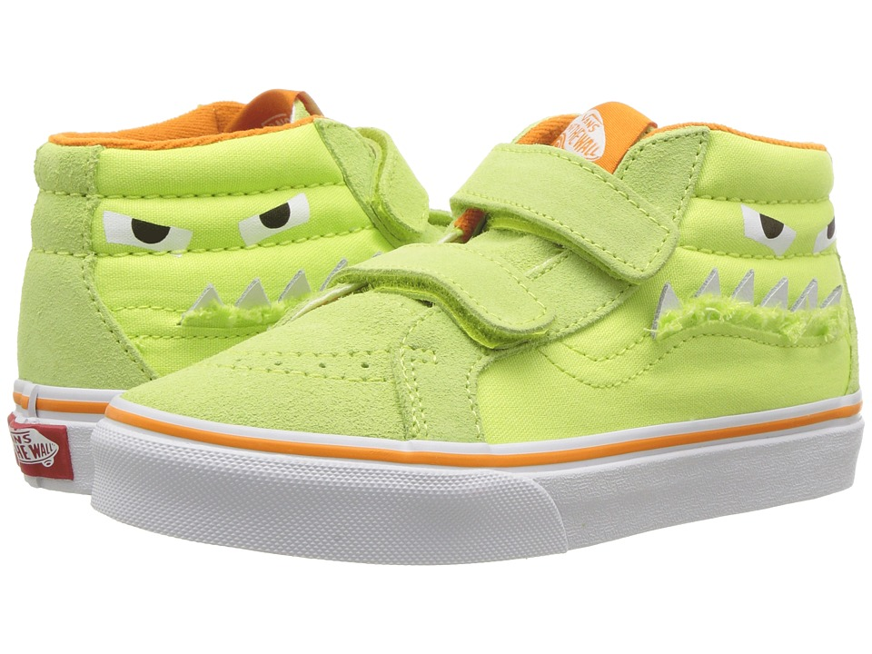 Vans Kids SK8-Mid Reissue V (Little Kid/Big Kid) ((Monster Face) Green/Russet Orange) Girls Shoes