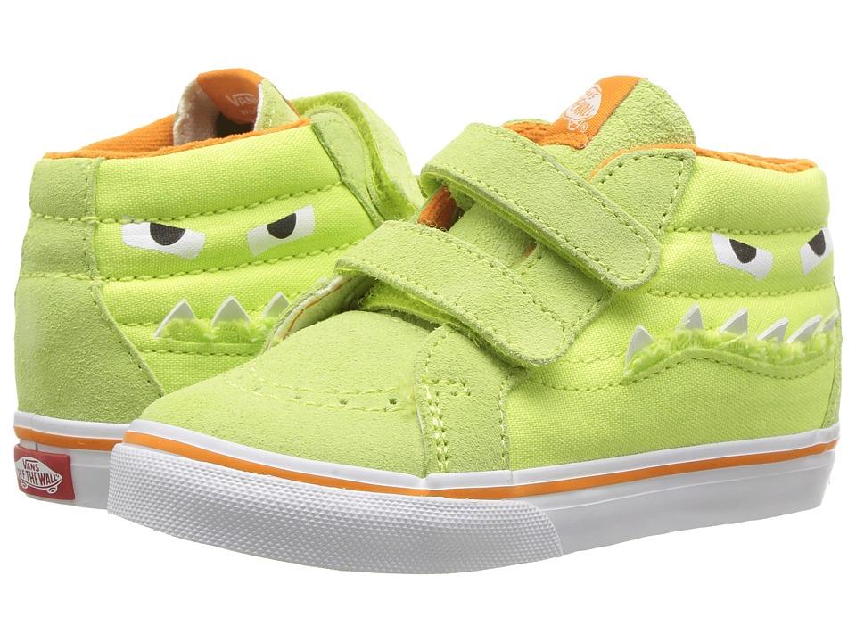 Vans Kids Sk8-Mid Reissue V (Infant/Toddler) ((Monster Face) Green/Russet Orange) Girls Shoes
