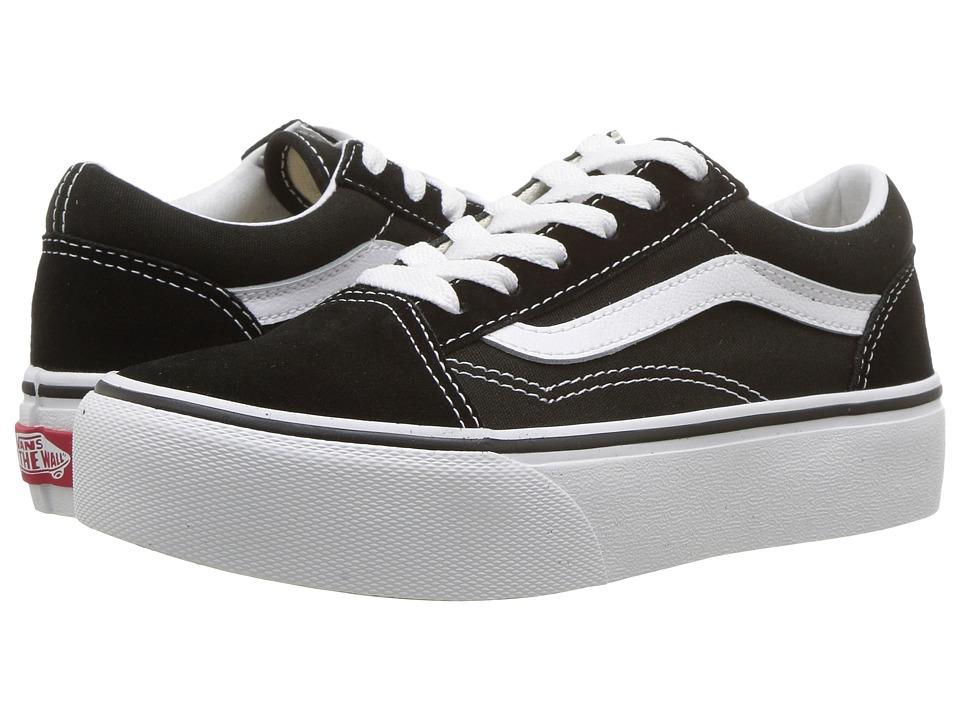 Vans Kids Old Skool Platform (Little Kid/Big Kid) (Black/True White) Girls Shoes