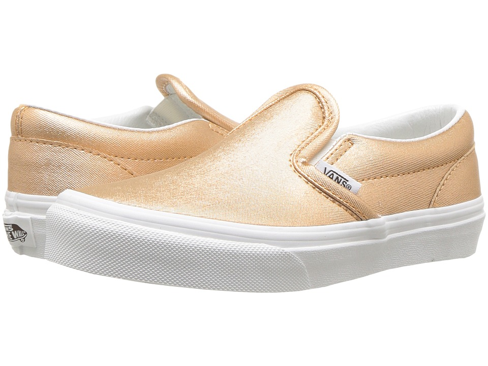Vans Kids Classic Slip-On (Little Kid/Big Kid) ((Metallic Leather) Light Copper) Girls Shoes