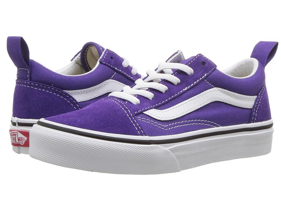 Vans Kids Old Skool Elastic Lace (Little Kid/Big Kid) (Heliotrope/True White) Girls Shoes