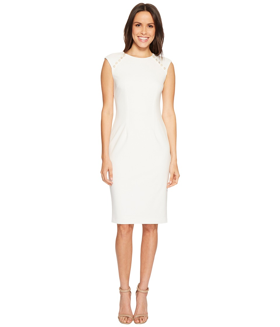 Adrianna Papell - Knit Crepe Buttoned Sheath (Ivory) Womens Dress