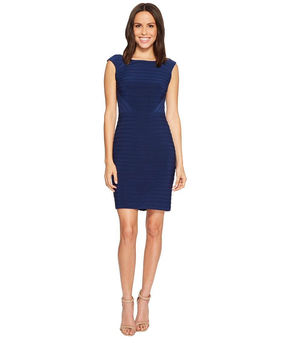 Adrianna Papell - Matte Jersey Banded Dress with Lace Yoke and Sleeves (Navy Blue) Womens Dress
