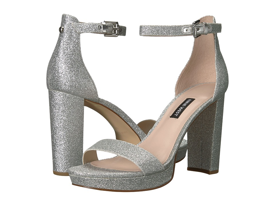 Nine West - Dempsey Platform Heel Sandal (Silver Synthetic) Womens Shoes