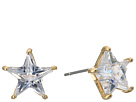 Betsey Johnson Blue by Betsey Johnson CZ Star Stone Studs with Gold Tone Details Earrings