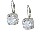 Betsey Johnson Betsey Johnson Blue by Betsey Johnson CZ Square-Shaped Stone Drops with Crystal Accents and Heart-Shaped Cut Out Details Earrings