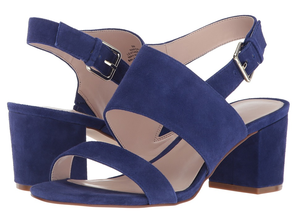 Nine West Forli Block Heel Sandal (Dark Blue Suede) Women