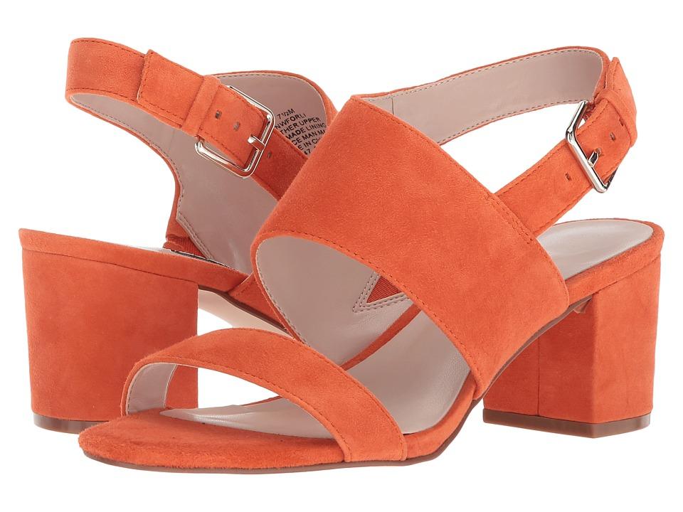 Vintage Style Shoes, Vintage Inspired Shoes Nine West Forli Block Heel Sandal Orange Suede Womens Shoes $89.00 AT vintagedancer.com