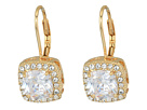 Betsey Johnson Blue by Betsey Johnson CZ Square-Shaped Stone Drops with Crystal Accents and Gold Tone Base with Heart-Shaped Cut Out Details Earrings