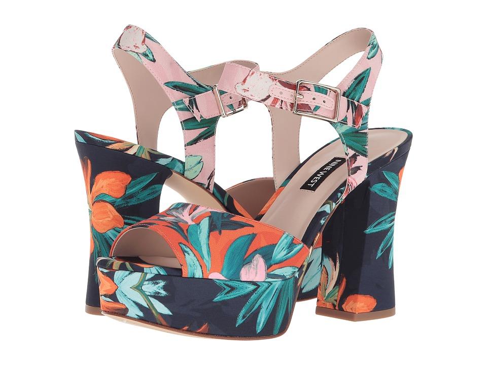 Nine West Wilmarie Platform Heel Sandal (Orange Multi Fabric) Women