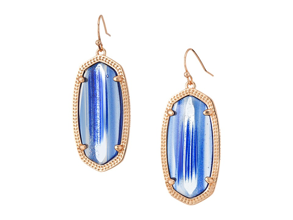 Kendra Scott - Elle Earring (Rose Gold/Navy Dusted Glass) Earring