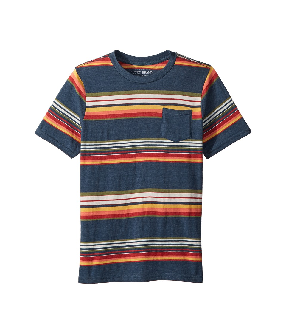 Lucky Brand Kids - Short Sleeve Print Tee (Big Kids) (Indigo Blue) Boys T Shirt