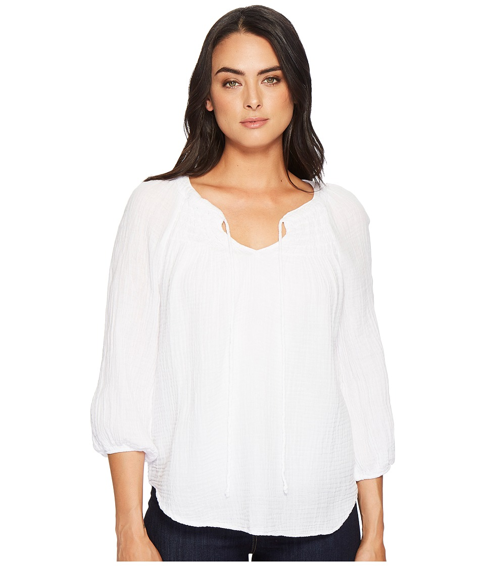 Michael Stars Double Gauze Peasant Top with Smocking (Whi...