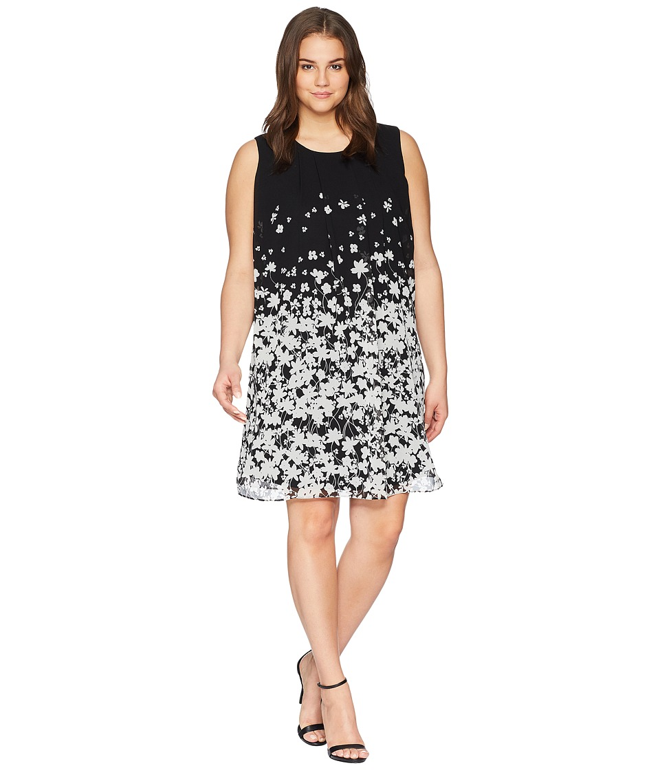 Calvin Klein Plus - Plus Size Printed Sleeveless A-Line Dress (Black/White F) Womens Dress