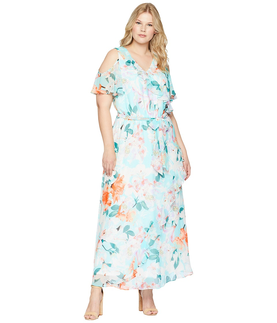 Calvin Klein Plus - Plus Size Cold Shoulder Ruffle Maxi (Seaspray Multi) Womens Dress