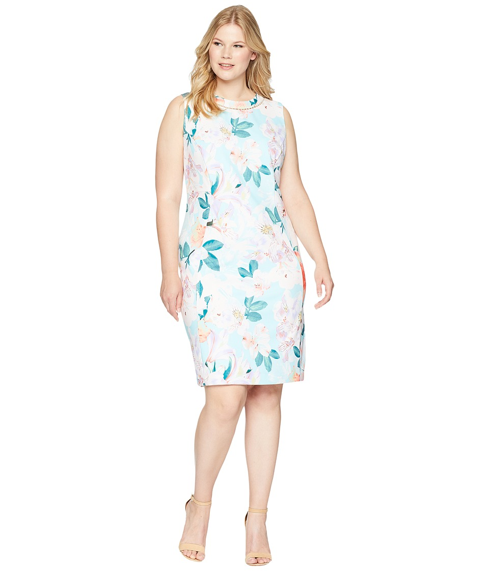 Calvin Klein Plus - Plus Size Printed Sheath with Pearls At Neck (Seaspray Multi) Womens Dress
