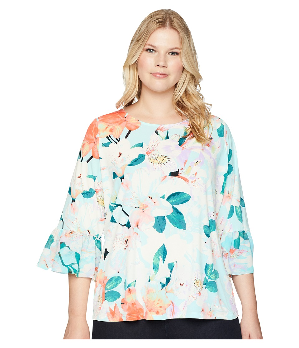 Calvin Klein Plus - Plus Size Printed 3/4 Top w/ Chiffon (Seaspray Multi) Womens Long Sleeve Pullover