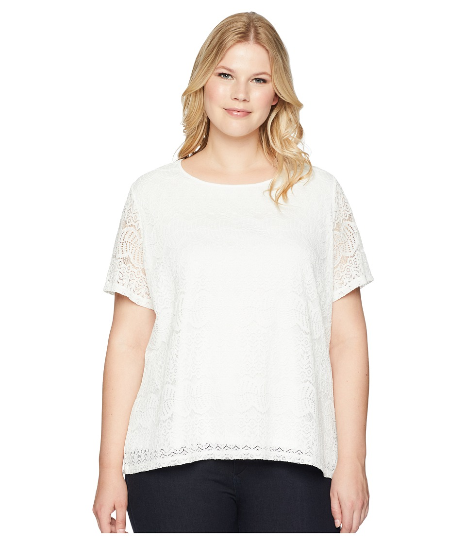 Calvin Klein Plus - Plus Size Short Sleeve Lace Top (Soft White) Womens Short Sleeve Pullover
