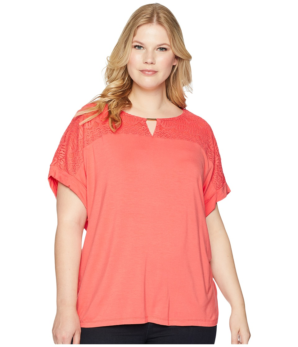 Calvin Klein Plus - Plus Size Short Sleeve Top w/ Lace Yoke Hardware (Porcelain Rose) Womens Short Sleeve Pullover
