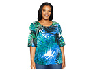 Calvin Klein Plus Plus Size Printed Flutter Sleeve w/ Buttons