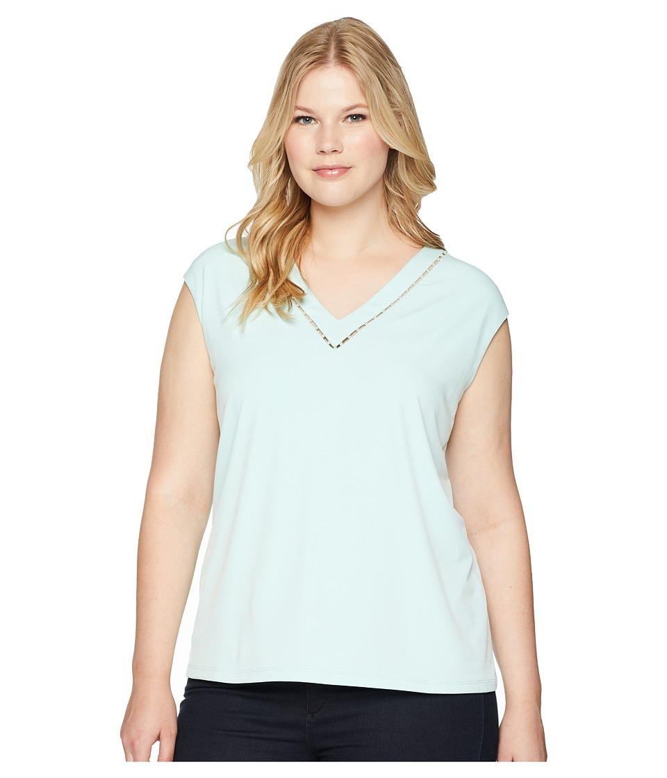 Calvin Klein Plus - Plus Size Sleeveless V-Neck Top w/ Pearl Detail (Seaspray) Womens Sleeveless