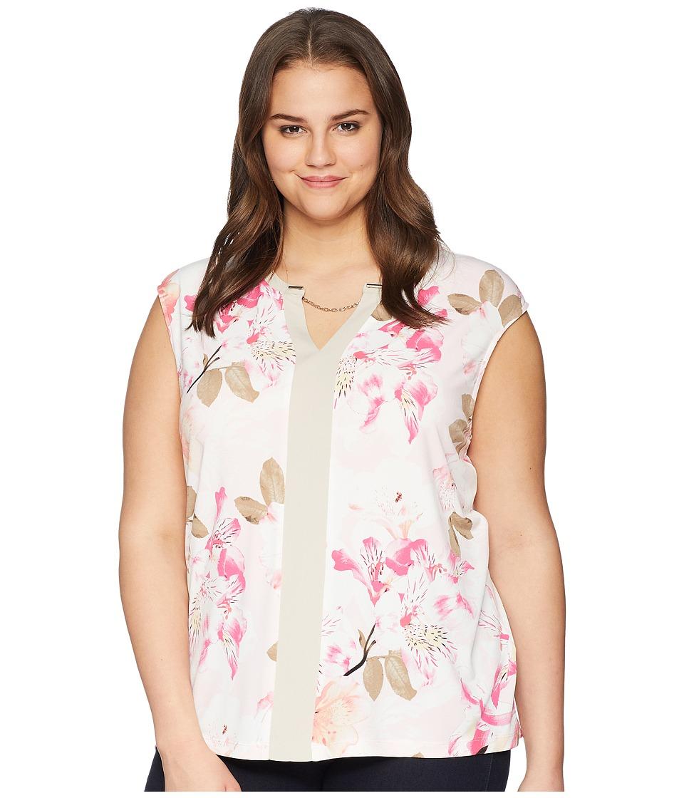 Calvin Klein Plus - Plus Size Sleeveless Knit w/ Chain (White/Latte) Womens Sleeveless
