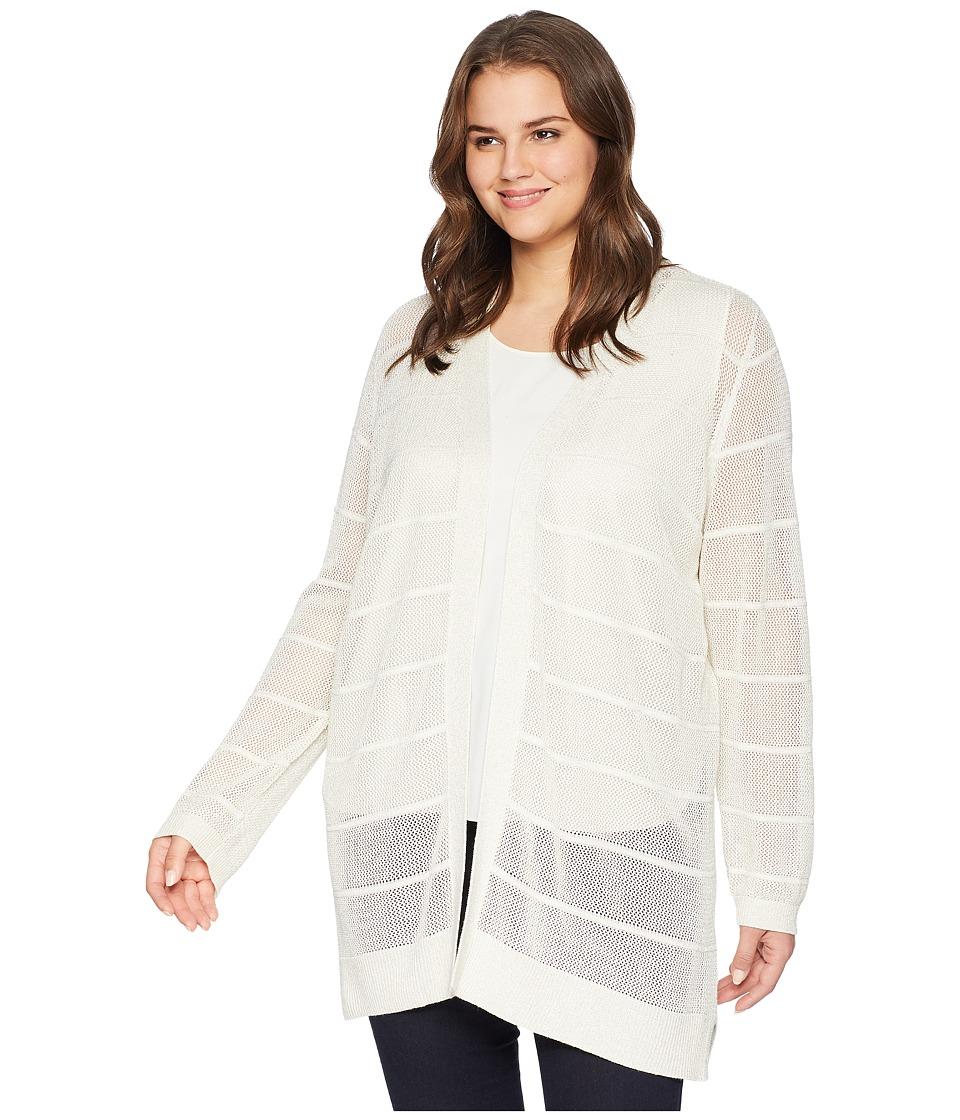 Calvin Klein Plus - Plus Size Long Sleeve Lurex Cardigan (Soft White) Womens Sweater
