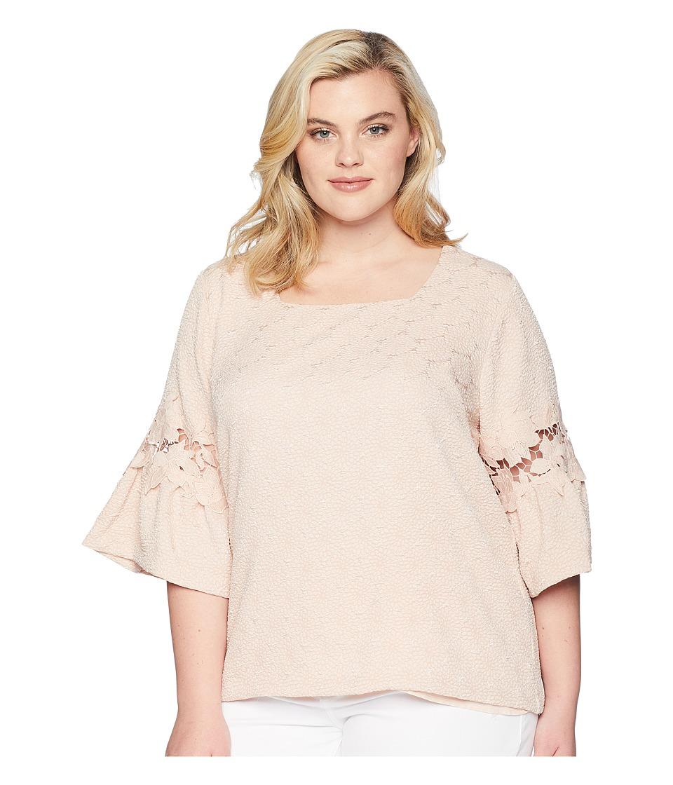 Calvin Klein Plus - Plus Size Square Neck w/ Lace Detail (Blush) Womens Blouse