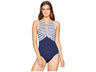 Tommy Bahama Channel Surf Twist Front High Neck One-Piece
