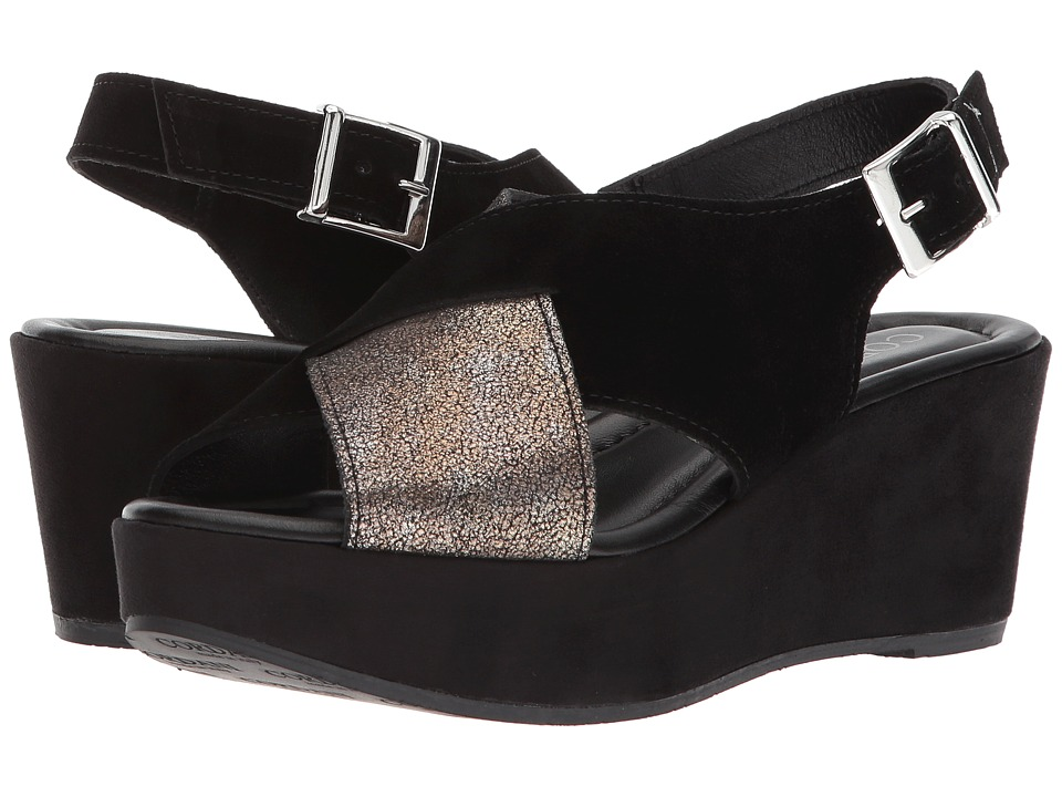Vintage Sandals | Wedges, Espadrilles – 30s, 40s, 50s, 60s, 70s Cordani - Cleary Black SuedePewter Womens Sandals $179.00 AT vintagedancer.com