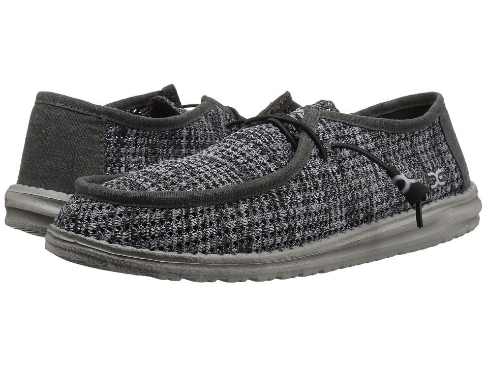 Hey Dude - Wally Sox Perforated (Black Grey) Mens Shoes