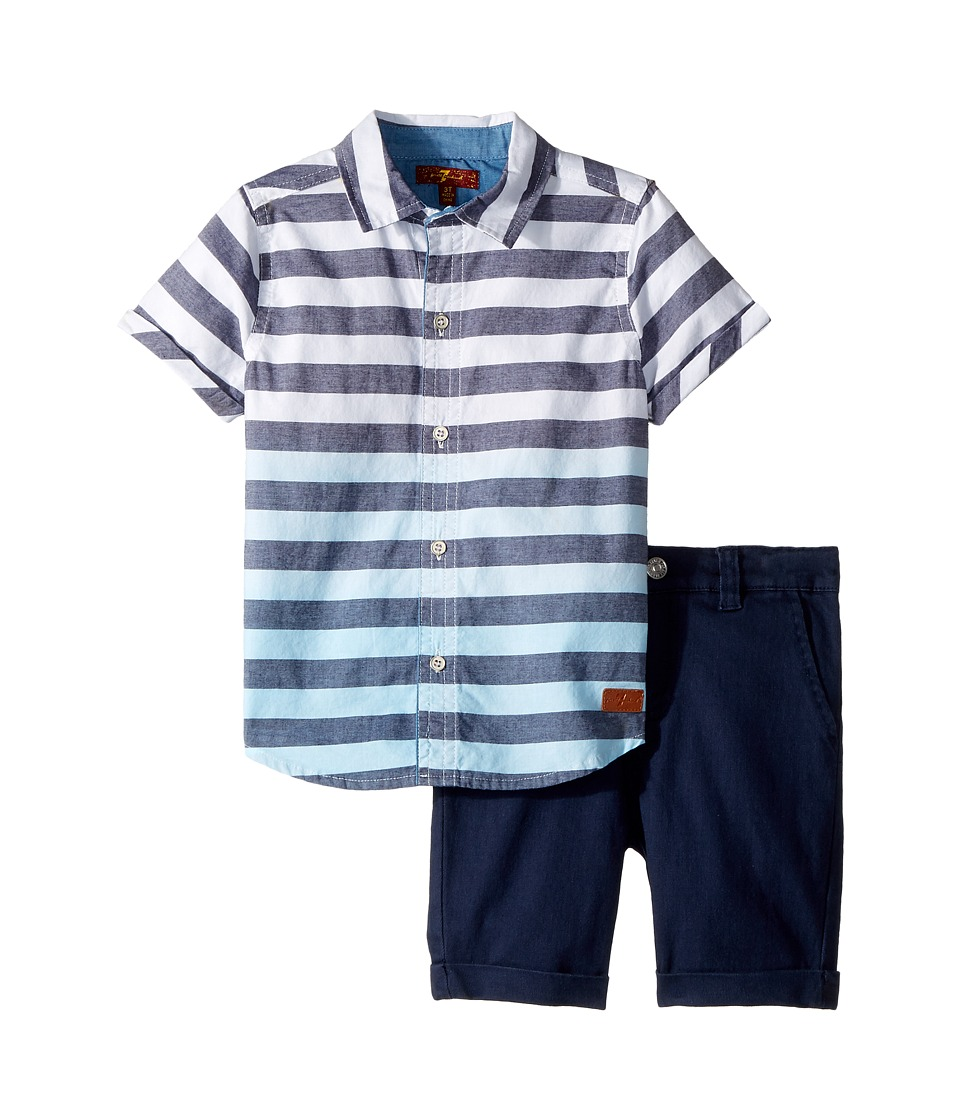 7 For All Mankind Kids - Two-Piece Set (Toddler) (Aqua Dip-Dye) Boys Active Sets