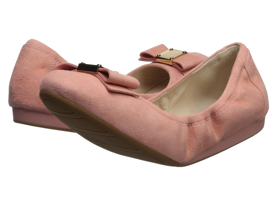 Cole Haan - Tali Bow Ballet (Coral Almond Suede) Womens Slip on  Shoes