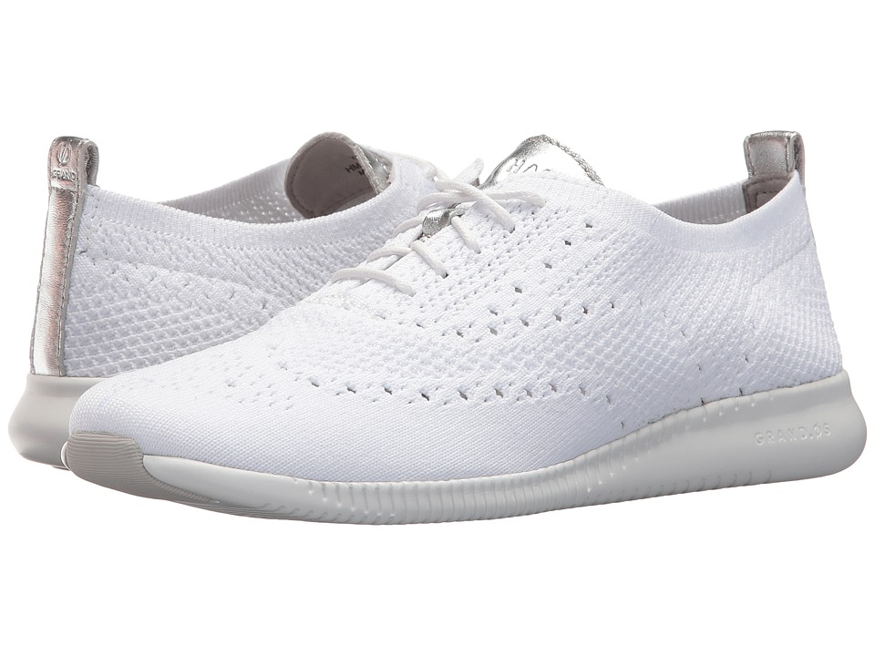 Cole Haan 2Zerogrand Stitchlite Oxford Optic White KnitCole Haan Argento MetallicOptic White Womens Shoes
