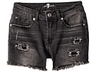 7 For All Mankind Kids Roll Cuff Shorts in Authentic Black (Big Kids)