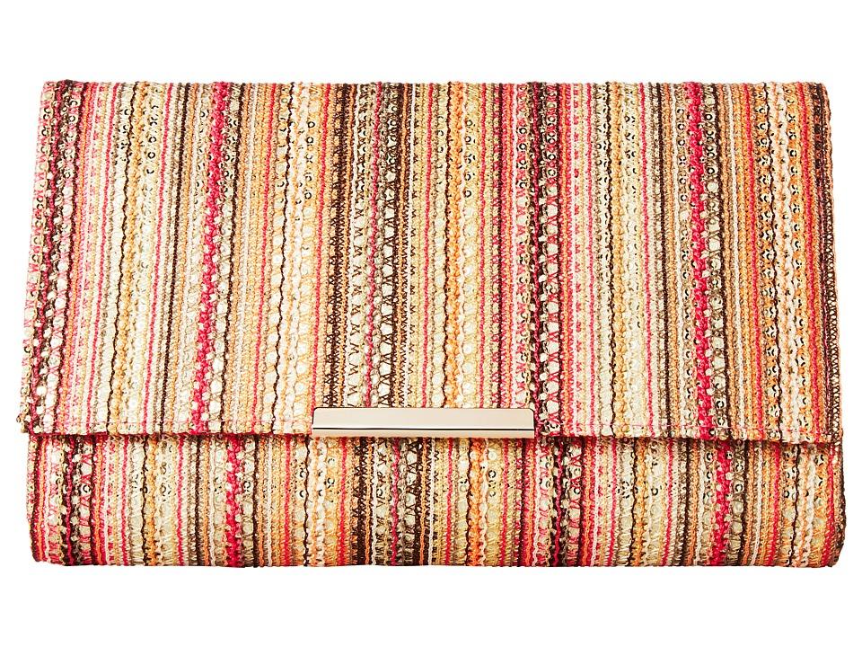 Jessica McClintock - Nora Vertical Stripe Clutch (Pink Multi) Clutch Handbags